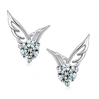 Angel Wings Stud Earrings in 925 Sterling Silver