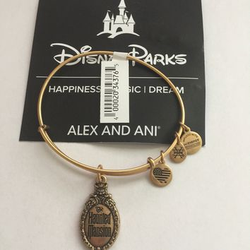 Disney Alex and Ani Parks Haunted Mansion Logo Bangle Gold Finish New Tags