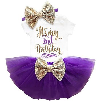 Two Year Baby Sets Newborn Baby Girl 1st 2nd Birthday Cake Smash Outfit Toddler Girl Little Bebes Infant Party Wear Kids Clothes