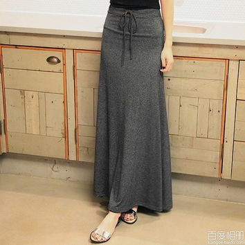 Women's long skirt with string around the waist,one size = 1946476868