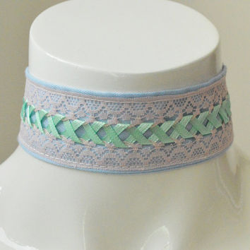 Kitten play collar - Changeling - ddlg princess little girl - blue, pink and apple green laced - pet play neko girl larp costume cosplay