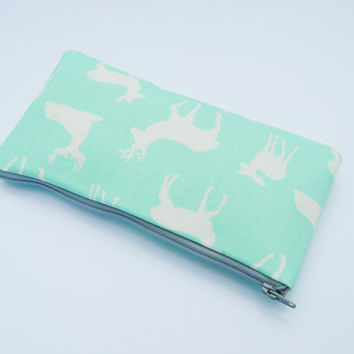 MINT DEER POUCH, deer makeup bag, makeup brush holder, deer pencil pouch, zipper pouch,