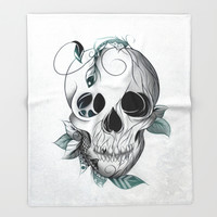 Skull Boho Throw Blanket by LouJah | Society6
