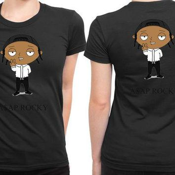 VONEED6 Asap Rocky In Funny Cartoon 2 Sided Womens T Shirt
