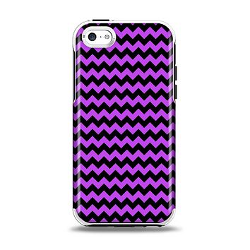 The Black & Purple Chevron Pattern Apple iPhone 5c Otterbox Symmetry Case Skin Set