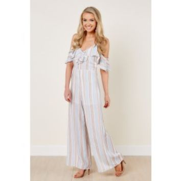 Here And Now Light Blue Striped Jumpsuit