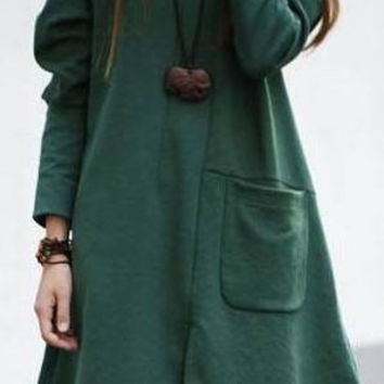 green New women's fashion Large yards Korean loose one-piece dress = 1958223108