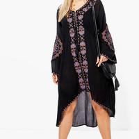 Plus Liv Premium Embroidered Wide Sleeve Midi Dress