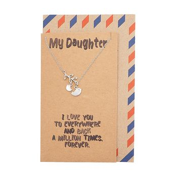 Izy Mother and Daughter Bird Necklace, Gifts for Daughter, with Inspirational Quote