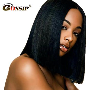 "Gossip 12*6"" Long Lace Front Human Hair Wigs For Black Women 150% Density Peruvian Straight Hair Lace Frontal Wigs Non Remy"