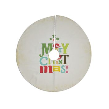 "Noonday Design ""Merry Christmas"" Beige Green Tree Skirt"