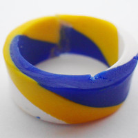 Blue and yellow ring, Blue band ring, yellow band ring, blue and yellow band - MADE TO ORDER
