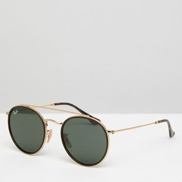 Ray-Ban 0RB3647 Round Sunglasses With Brow Bar 51mm at asos.com