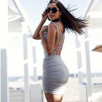 Fashion Hollow Crisscross Bandage Sleeveless Pack-hip Mini Dress