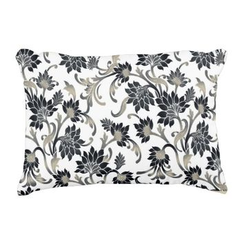 Floral Pattern Black+Tan Accent Pillow