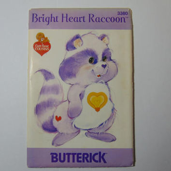 Butterick 3380 Bright Heart Raccoon Care Bear Cousin Sewing Craft Doll Pattern UNCUT