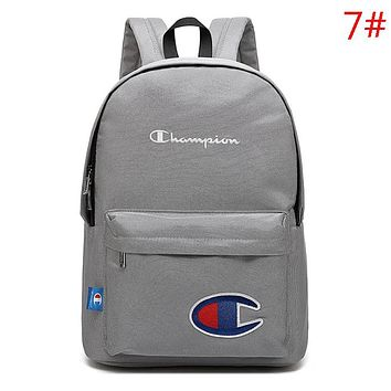 Champion New Fashion Embroidery Letter Logo Travel Women Men Backpack Bag Gray