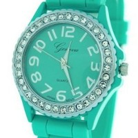 Aqua Ceramic Style Silicone Gel Band Crystal Women's Watch