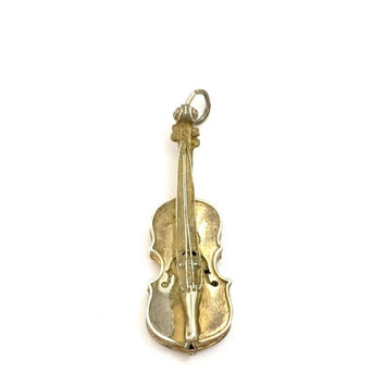 Sterling Silver Violin Charm/Pendant, Gold Plated Sterling, Dimensional Design, Vintage Jewelry, Charm or Pendant, Mid - Century Piece