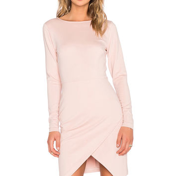 1. STATE Long Sleeve Ponte Wrap Front Bodycon Dress in Blush Mist