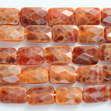 """FIRE AGATE FACETED RECTANGLE BEADS 8"""" STRAND"""