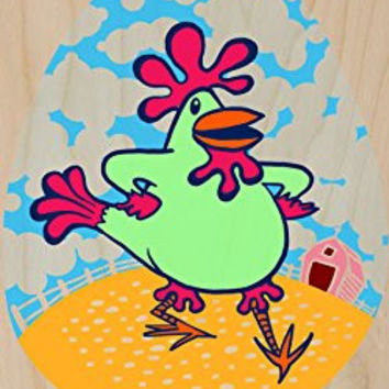 'Funny Dancin' Chicken' Funny Farm Animal - Plywood Wood Print Poster Wall Art