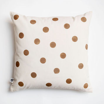 Decorative pillow cover golden polka dots hand printed on cotton canvas size 16x16