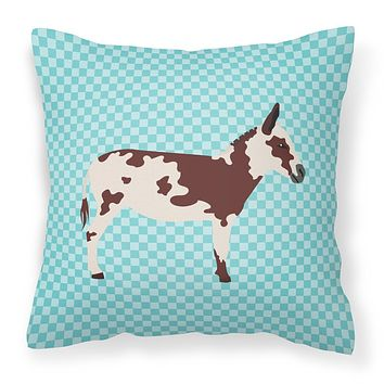 American Spotted Donkey Blue Check Fabric Decorative Pillow BB8025PW1414