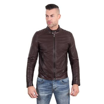Men's Leather Jacket quilted yoke dark brown color Emiliany Trap