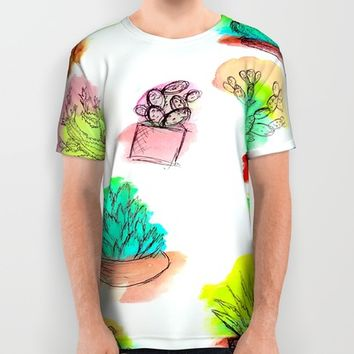 Colored Cactus All Over Print Shirt by Yuval Ozery