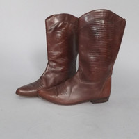 Size 9 Womens Cowgirl Boots Brown Leather Vaneli Italian Leather Midcalf Boots Southwestern Rustic Country Cowboy Boots Boho Textured