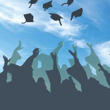 Graduation Hat Toss To The Sky Backdrop - 6x8 - LCCR6136 - LAST CALL