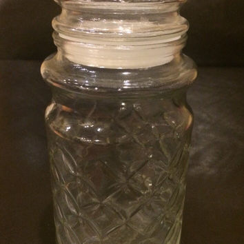 Vintage Mr. Peanut Glass Jar, 1984 Diamond Embossed Pattern, Mr. Peanut Colectible Jar