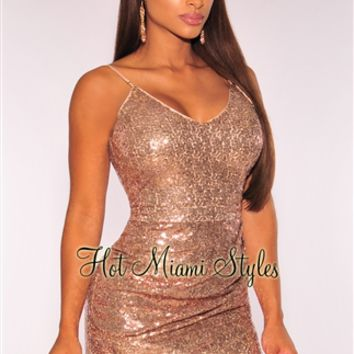 Rose Gold Sequins Ruched Dress