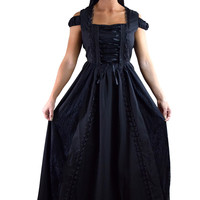 Gothic Victorian Dark Side Raven Witch Black Long Corset Lace up Party Dress