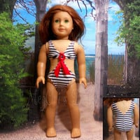 "American Girl Doll swimsuit ""Ocean Breeze"" in red white blue, Nautical Theme"