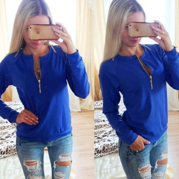 Plain Zipper-Up Long-Sleeve Shirt