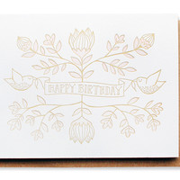letterpress floral birthday card