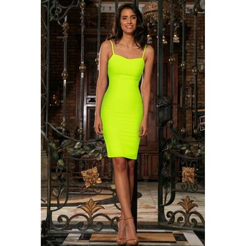 Neon Yellow Lime Green Stretchy Summer Trendy Bodycon Mini Dress - Women