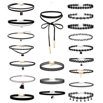 20Pcs Black Velvet Chocker Necklace