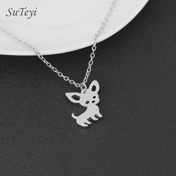 SUTEYI New Cute Chihuahua Animal Pendant Necklaces for Women Love My Pet Animal Dog Necklace Choker Jewelry Birthday Gifts