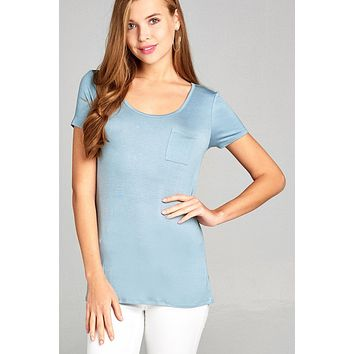 Ladies fashion short sleeve round neck w/back strappy detail rayon spandex top
