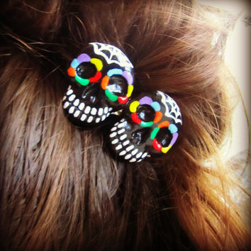 Rainbow Sugar Skull Haunted Hair Candy by HauntedHairCandy on Etsy