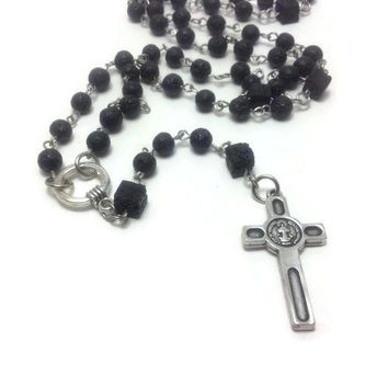 Catholic Rosary Necklace, Handmade Unisex Rosary, Lava Beads, Black Rosary, First Communion, Confirmation Rosary, Baptism Rosary,