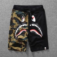 AAPE BAPE Summer Couple Casual Camouflage Joining Together Running Sport Shorts Black