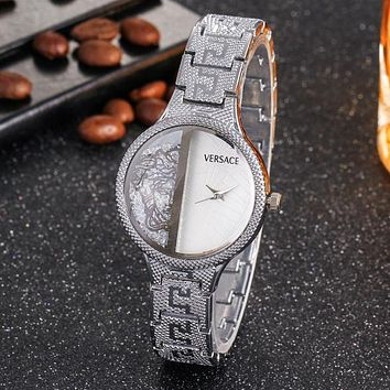8DESS Versace Woman Men Fashion Quartz Movement Wristwatch Watch