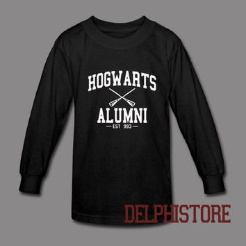 hogwarts alumni shirt harry potter tshirt t-shirt printed long sleeve black and white unisex size (DL-101)