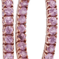 14kt Rose Gold Womens Round Pink Sapphire Hoop Earrings 2.00 Cttw