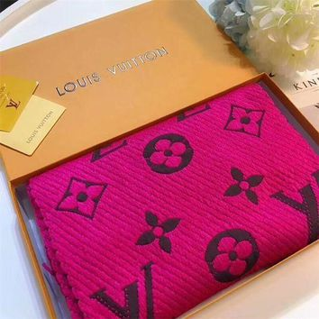 "LV ""Louis Vutitton"" Fashion Ladies Men Logo Letter Embroidery Tassel Cashmere Scarf Shawl Accessories(3-Color) I"