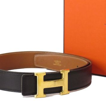 Auth HERMES H Buckle Belt Size:70 Leather Gold-tone Black Brown 18582011